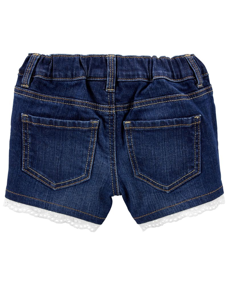 Eyelet Trim Stretch Denim Shorts, , hi-res