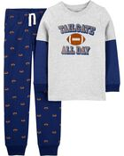 2-Piece Football Layered Tee & Jogger Set, , hi-res