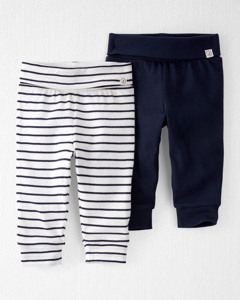 Emballage de 2 pantalons en coton biologique qui s'adaptent à la croissance, , hi-res