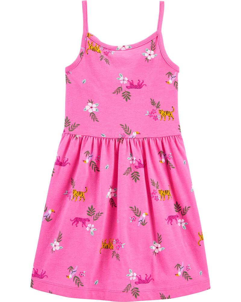 Floral Ruffle Tank Jersey Dress, , hi-res