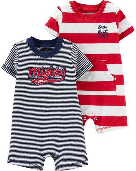 2-Pack Striped Rompers