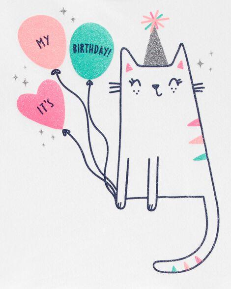 Glitter Birthday Cat Peplum Top