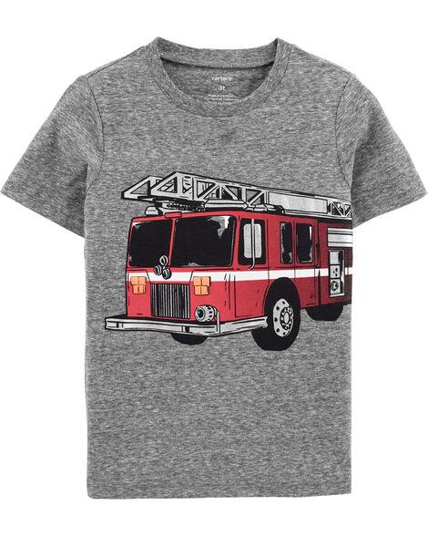 T-shirt en jersey chiné à camion d'incendie