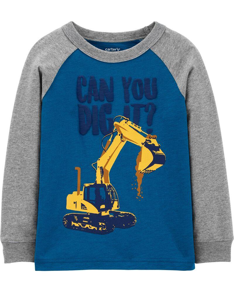 T-shirt en jersey avec motif de construction et manches raglan, , hi-res
