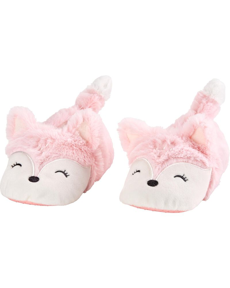 Pink Fox Slippers, , hi-res
