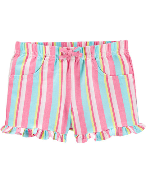 Striped Pull-On Twill Shorts