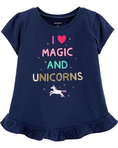 Glitter Unicorn Peplum Top
