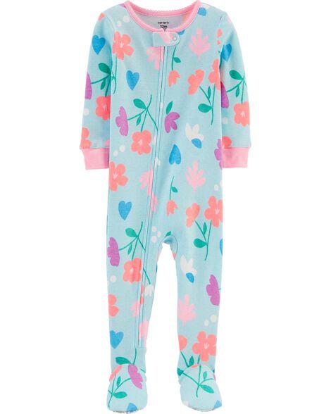 Pyjama 1 pièce à pieds en coton ajusté à motif fleuri