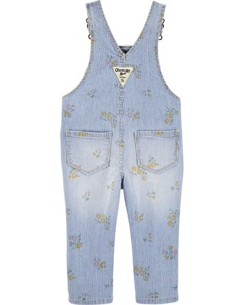 Floral Hickory Stripe Overalls