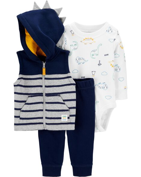 3-Piece Fleece Little Vest Set