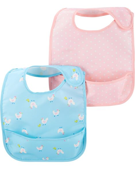 2-Pack Hearts & Chickens Water Resistant Bibs