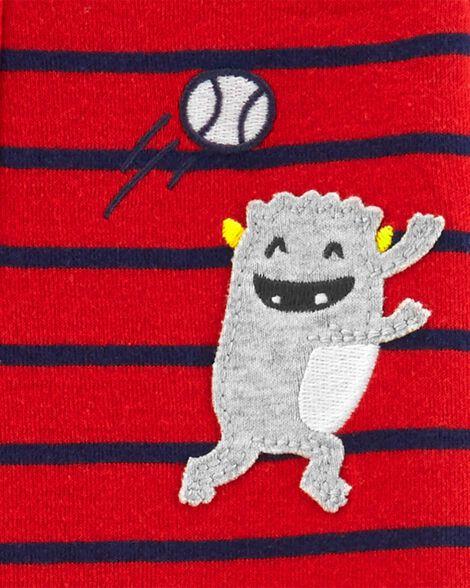 Pyjama 1 pièce à pieds en coton ajusté monstres joueurs de baseball