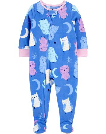 2-Piece Owl Fleece Footie PJs