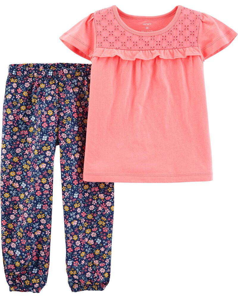 2-Piece Jersey Tee & Pull-On Pant Set, , hi-res