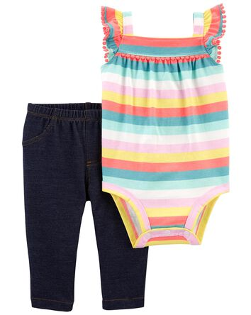 2-Piece Striped Bodysuit Pant Set