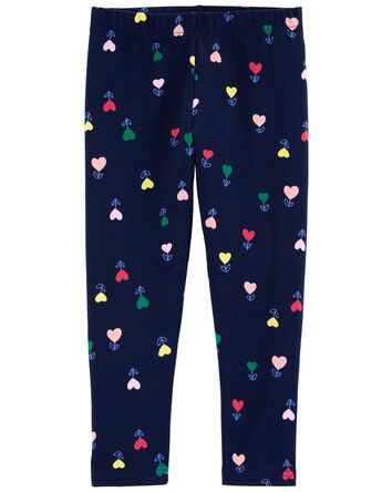 Heart Flower Capri Leggings
