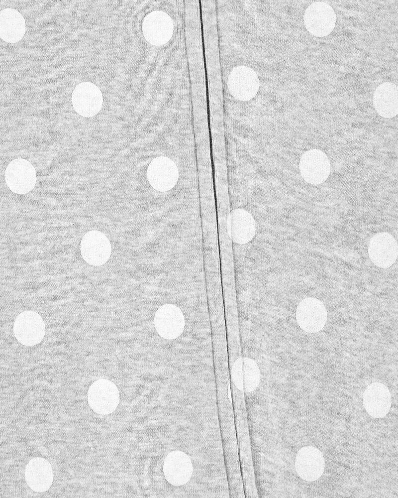 Grenouillère en coton à glissière 2 sens motif pois, , hi-res