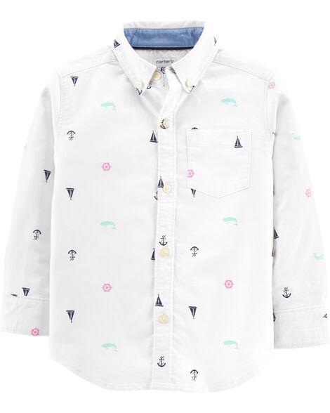 Chemise boutonnée oxford à voiliers