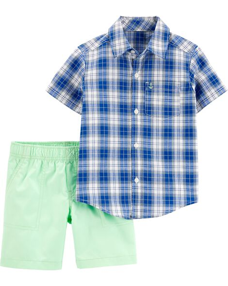 2-Piece Plaid Button-Front Shirt & Poplin Short Set