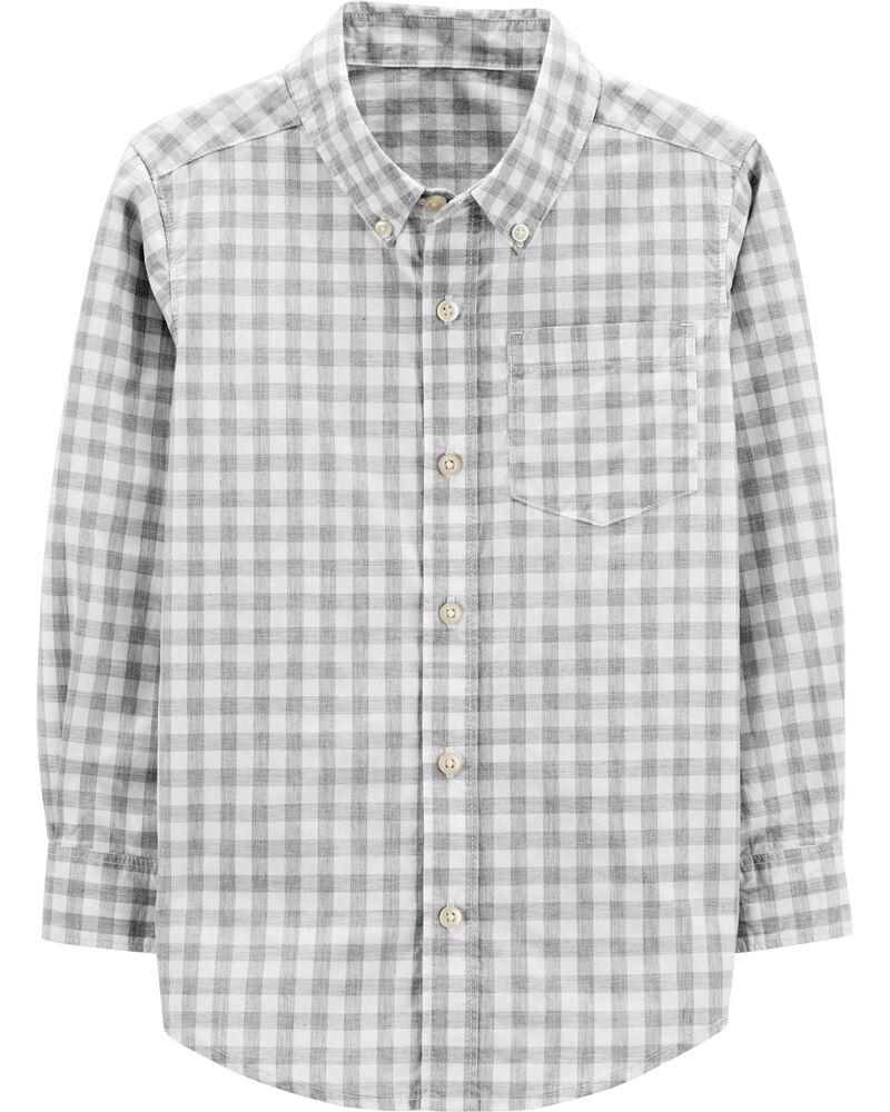 Gingham Button-Front Shirt, , hi-res