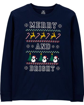 Merry And Bright Holiday Jersey Tee