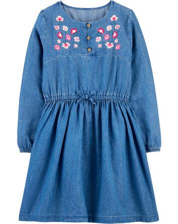 Embroidered Floral Denim Dress