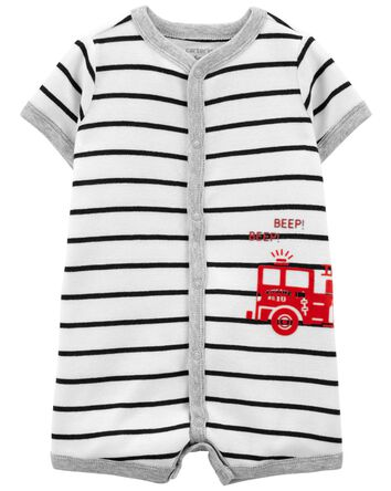 Striped Snap-Front Romper