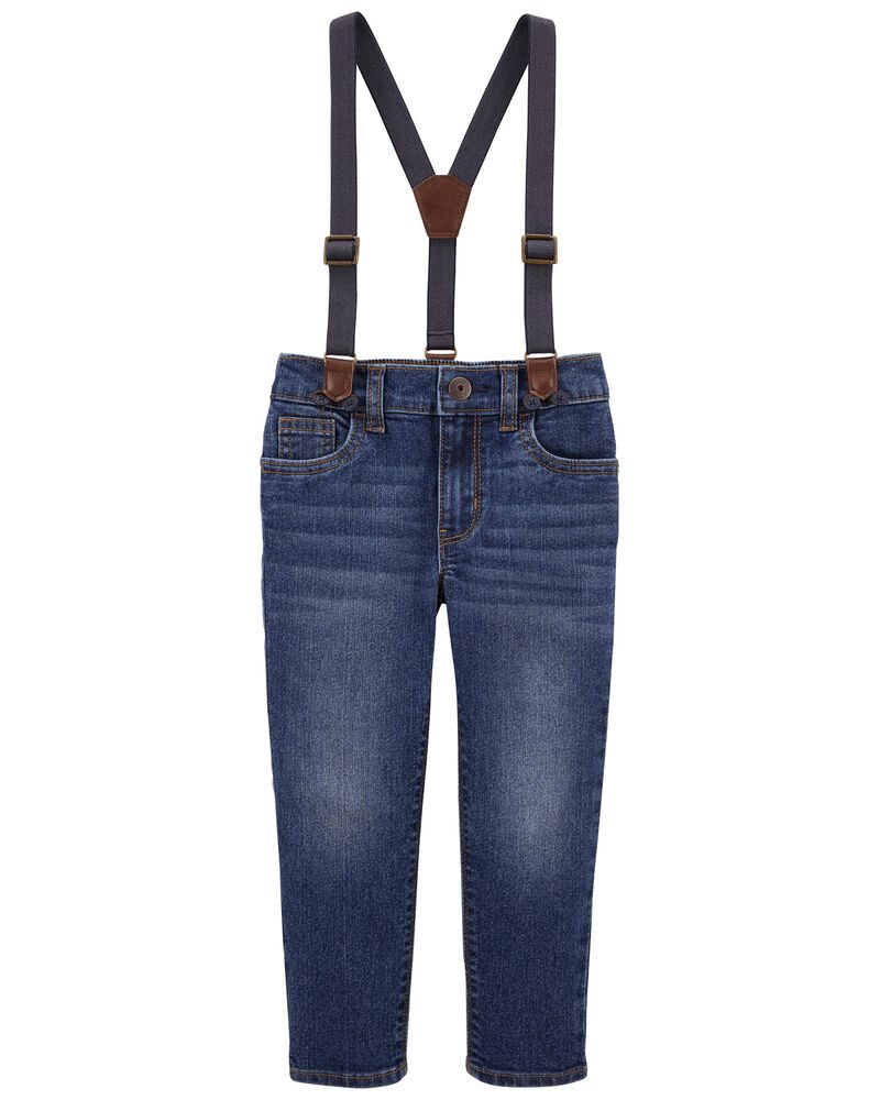 Pantalon en tricot de denim à bretelles de coupe étroite, , hi-res