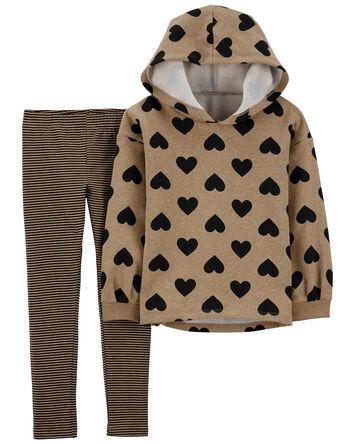 2-Piece Heart Fleece Hoodie & Strip...