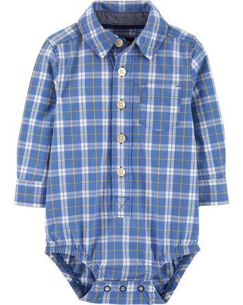 Plaid Button-Front Bodysuit