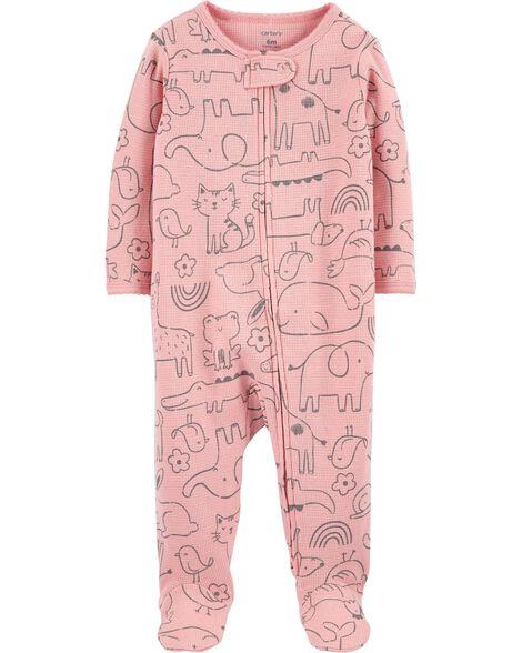 Grenouillère en coton pour dormir et jouer avec glissière 2 sens et animaux