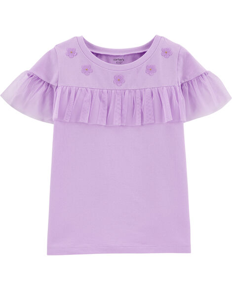 Floral Tulle Jersey Top