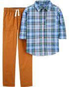 Ensemble 2 pièces chemise à motif écossais et pantalon, , hi-res