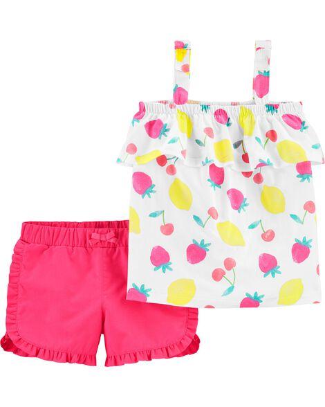 2-Piece Fruit Jersey Tank & Twill Short Set