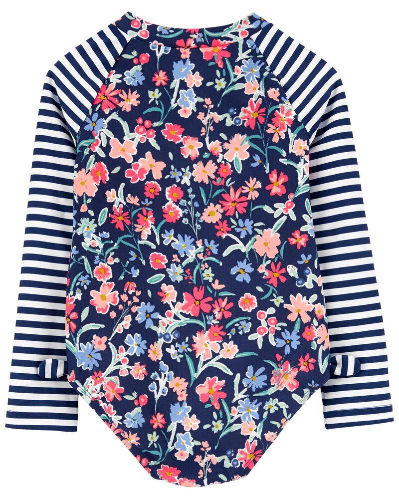Floral Rashguard Swimsuit, , hi-res