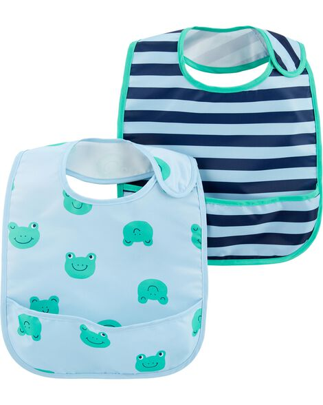 2-Pack Stripes & Frogs Water Resistant Bibs