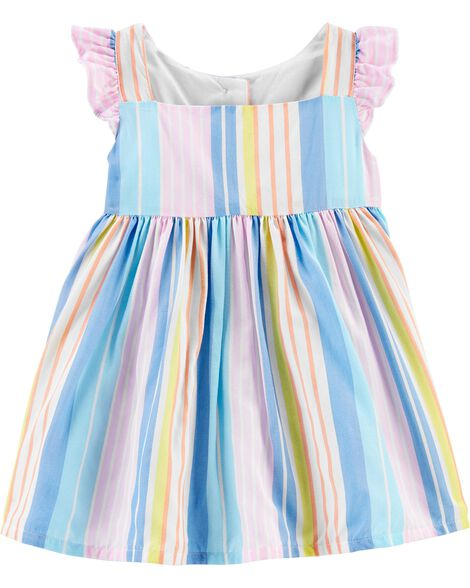 Striped Flutter Sleeve Dress