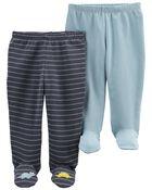 Emballage de 2 pantalons en coton à pieds, , hi-res