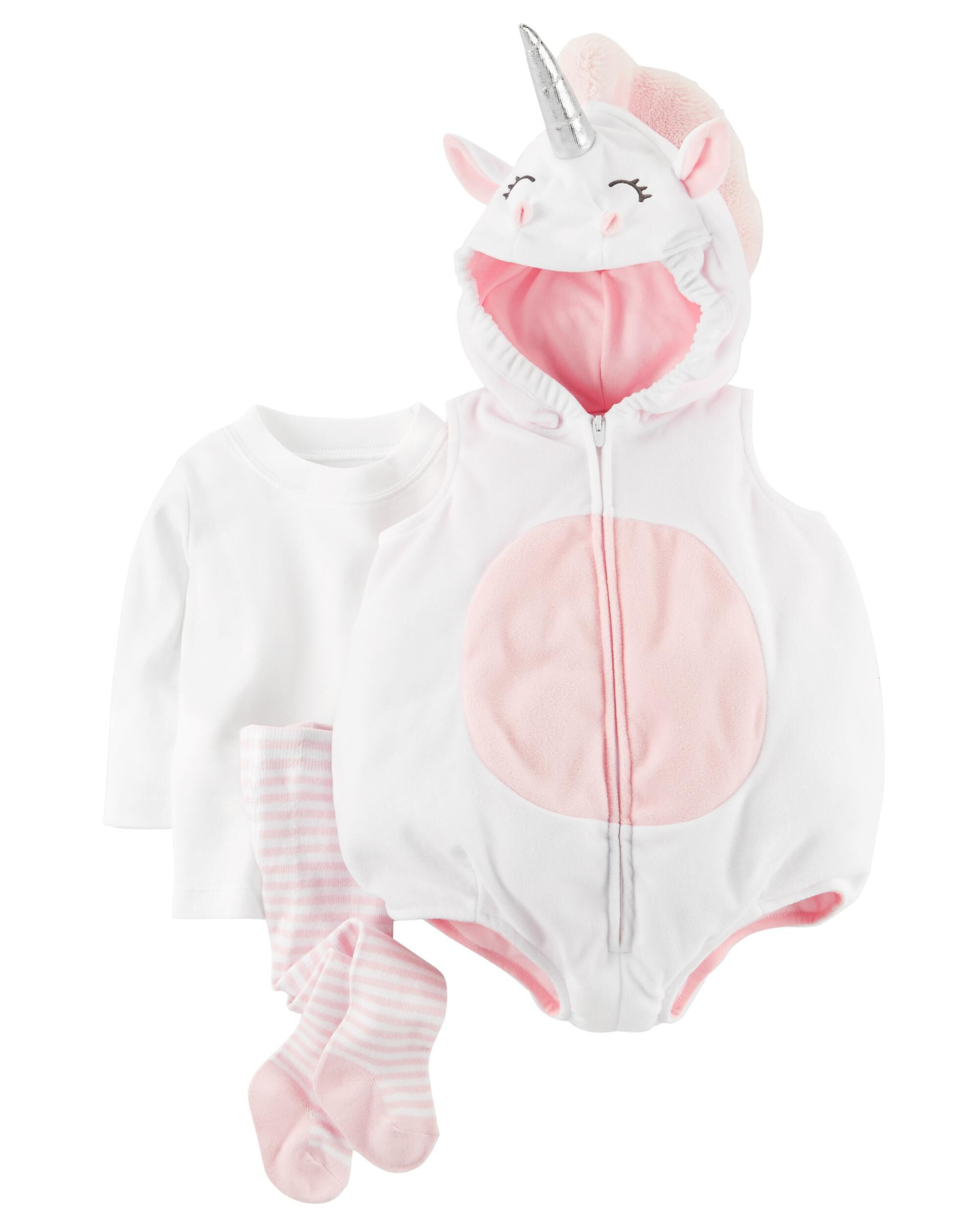 Brand New Carter/'s Unicorn Baby Girl/'s Halloween Costume 3pc set size 18m hooded