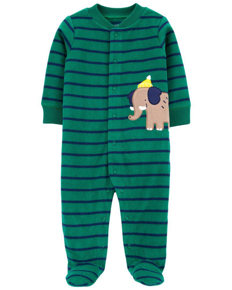 Striped 2-Way Zip Fleece Footless Sleep & Play, , hi-res
