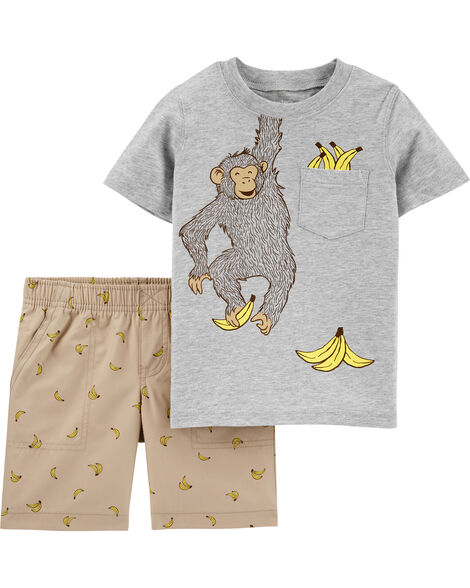 2-Piece Monkey Tee & Poplin Short Set