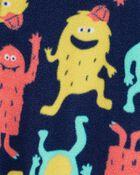 Pyjama 1 pièce en molleton avec pieds motif de monstre, , hi-res