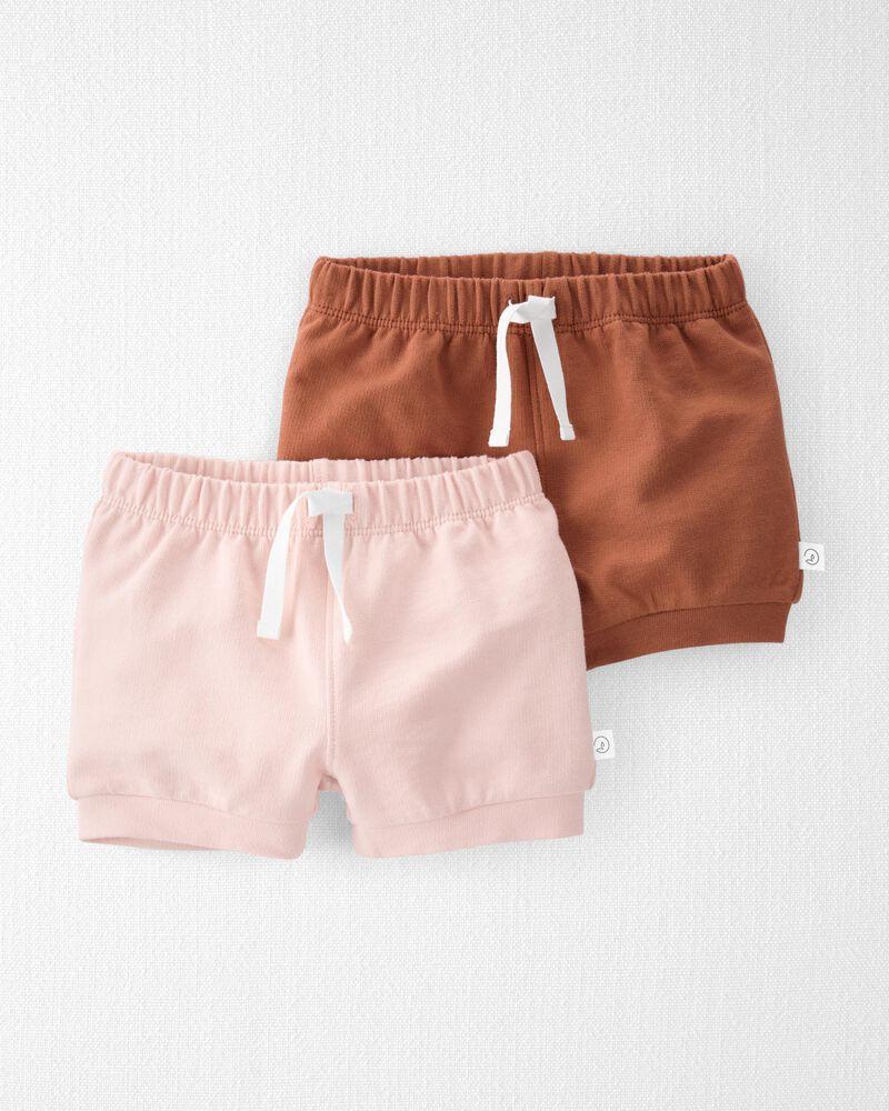 Emballage de 2 shorts en tricot doux biologique, , hi-res