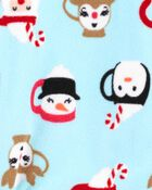 1-Piece Santa Fleece Footie PJs, , hi-res
