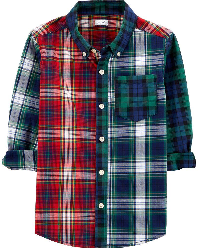 Plaid Poplin Button-Front Shirt, , hi-res