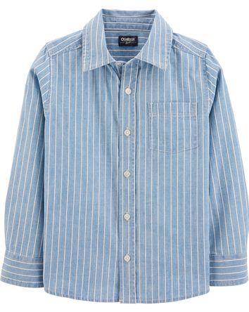 Chambray Stripe Button-Front Shirt