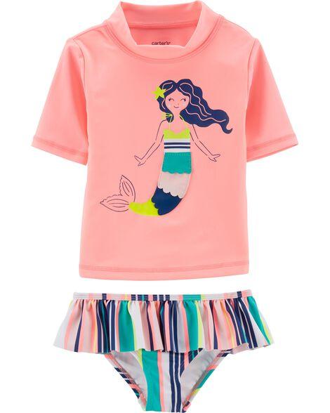 2-Piece Mermaid UV Swim Shirt Set