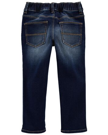 Pull-On Stretch Denim Pants - Dark...