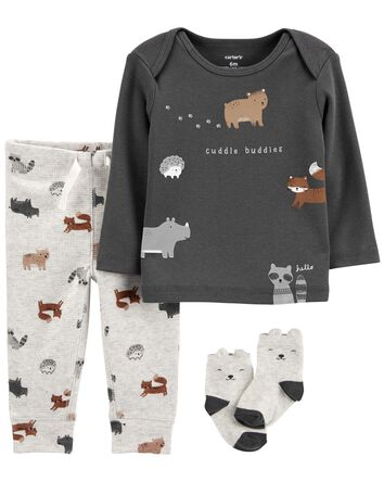 3-Piece Animal Print Tee & Pants Se...