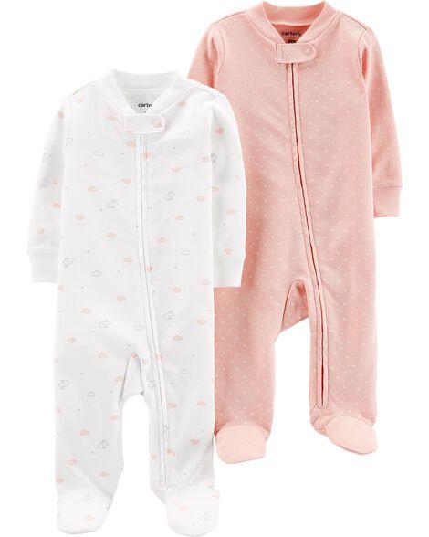 2-Pack Cotton Zip-Up Sleep & Plays
